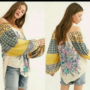 Free People Positano Printed Off The Shoulder top